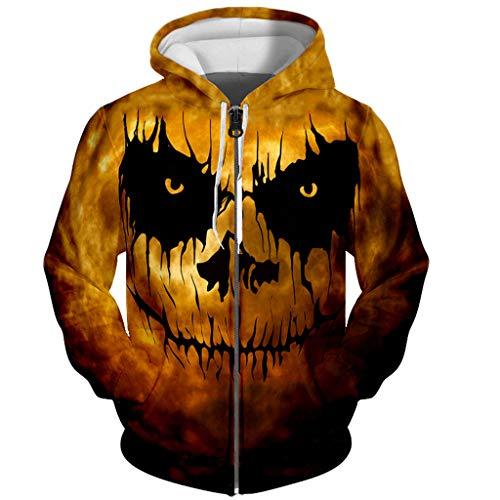 Floweworld Damen Lose Halloween Jacke/Sweatshirt Horror 3D Print Langarm Kapuzen Sweatshirt Bluse mit Taschen Herbst Winter Bluse für Frauen -