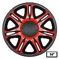 4 x Radkappen Radzierblenden Radblenden NASCAR RED BLACK schwarz rot universal 14 Zoll