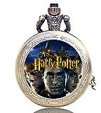 Taport® Taschenuhr mit Harry-Potter-Gravur, Quarz-Taschenuhr, bronzefarben, inkl. Ersatzbatterie und Geschenkbeutel