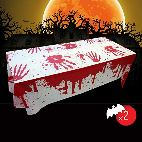 Weekend&Lifecan Tischtuch blutige gruselige, Halloween Party Dekoration Blutige Tischdecke, Tischdecke Halloween für Outdoor/Indoor Halloween Party Dekoration 2 Packs(106.3inch*53.9inch)