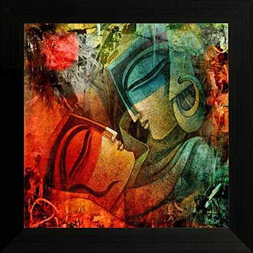 SAF UV Textured Radha Krishna Religious Modern Art Framed Painting (Synthetic, 14 inch x 14 inch, SANF4565)