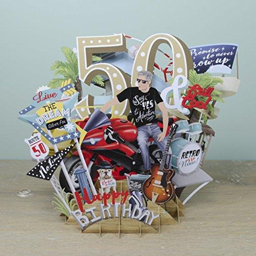 """Aufstellbare 3D-Pop-up-Karte zum 50. Geburtstag - von """"Top of the World"""""""