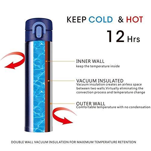 comprare on line Hiwill thermos a doppia parete, in acciaio INOX, contenitore termico con vuoto d'aria, per lo sport, con tazza da caffè, capienza 380 ml Blue prezzo