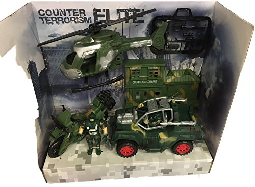 Army Base Combat Squad Soldier Attack Helicopter Military Base For Childrens Toy