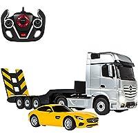 RASTAR Camión teledirigido 1:26 Actros y coche RC Mercedes V8 1:24, color gris And amarillo, 1 (ColorBaby 85190)