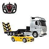 Rastar - Camión teledirigido 1:26 Actros y coche RC Mercedes V8 1:24, color gris And amarillo, 1 (ColorBaby 85190)