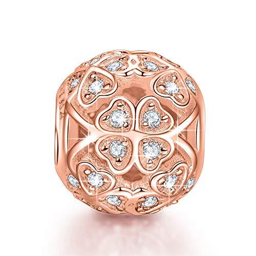 Ninaqueen quadrifoglio ciondolo bead da donna argento 925 oro rosa per pandora charms bracciale regalo compleanno natale san valentino festa della mamma regali anniversario per moglie figlia madre