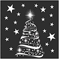 Star Tree with Stars Window Cling Stickers - Seasonal Christmas Window Decorations.