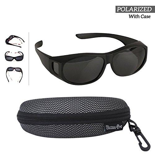 Bezzee-Pro Sonnenbrille Überziehbrille für Brillenträger; Polarisiert; Männer & Frauen Radfahren gegen Blendung - leicht - komfortabel - Sonnenüberbrille über Normale Brillen (schwarz)