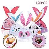TankerStreet 120 Stück Süßigkeit Partytüte Hase Bunny Candy Beutel Biscuit Tüten Taschen Plätzchen in 12 Farben Zufällig Muster Kunststoff Süßigkeiten Container für Schokoladen Geschenk 22x13.5x3.5cm