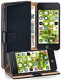 moex iPhone 4S | Hülle Schwarz mit Karten-Fach 360° Book Klapp-Hülle Handytasche Kunst-Leder Handyhülle für iPhone 4/4S Case