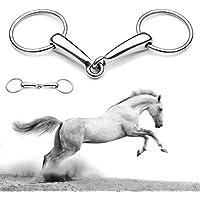 Plat Firm 5 Pulgadas de Acero Inoxidable Shires Boca Hueca Equestrain Horse Snaffle bit bit de Anillo Suelto