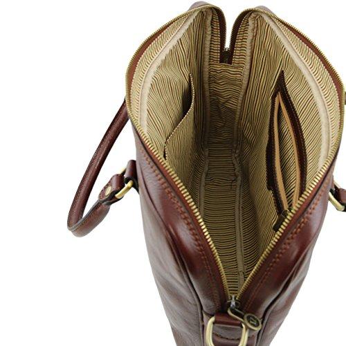 Tuscany Leather Prato - Elégante serviette pour portable en cuir Marron Sacs à main en cuir Marron foncé