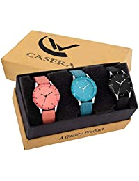 Casera Unique Collection White Analogue Women's Watch, Combo Set of 3