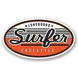 2 x 15cm/150mm Longboard Freestyle Surfer Vinyl SELBSTKLEBENDE STICKER Aufkleber Laptop reisen Gepäckwagen iPad Zeichen Spaß #4194