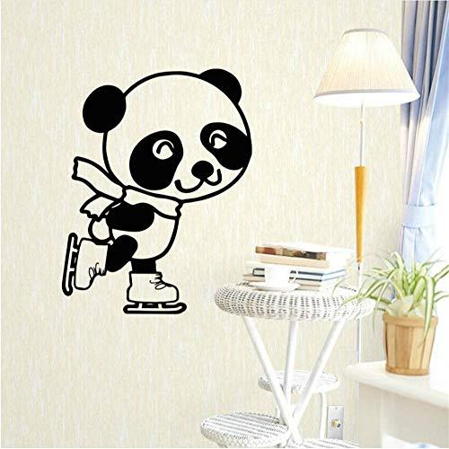 Zxfcccky Schwarz Und Weiß Wandgemälde Netter Panda Roller-Skating Wandaufkleber Für Kinderzimmer Kunst Kindergarten Wandaufkleber Für Baby Kinderzimmer Dekor Abnehmbar