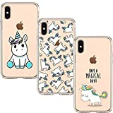 KZIOACSH [3 PACK] TPU Silicone Souple [Anti Choc][Anti Rayures],Transparent Case Ultra Mince Gel Doux Soft Cover Protection Coque compatible pour iPhone XS/iPhone X, Licorne Set