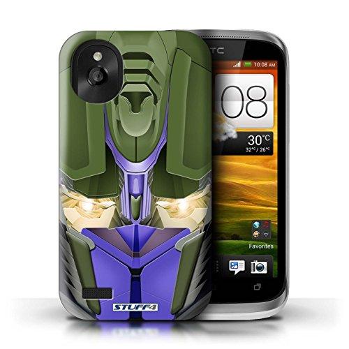 Kobalt® Imprimé Etui / Coque pour HTC Desire X / Mega-Bot Rouge conception / Série Robots Opta-Bot Bleu