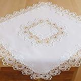 Tischdecke Mitteldecke Deckchen Tischläufer edle Makramee Spitze weiß Macramée Borte Tischdekoration Typ524 (Mitteldecke 85x85 cm)