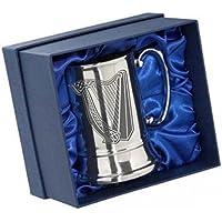 Incisione personalizzata in acciaio inox boccale birra tazza in confezione regalo Arpa Irlandese simbolo 06e il tuo messaggio incisione
