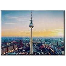 Lona lienzo de impresion digital pintura marco paisaje Fernsehturm Torre de television de Berlin panorama de Alemania 70x50 cm paisaje