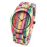 BEWELL Reloj Unisexo de Madera de Bambú, Cuarzo japonés y Hombre,Mujer,Correa de Multicolor de Bambú con Caja para Relojes/Pulseras,W105DG