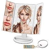 Espejo de maquillaje giwox espejo de mesa con LED Smart Touch y espejos Triple plegable de 2x/3x/10x pequeño con espejos de bolsillo (color blanco)