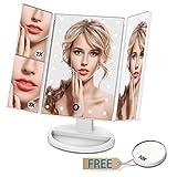 Giwox Specchio per Trucco Cosmetico LED Razor Illuminazione Schermo Tattile Luci Regolabile Pieghevole 21 Luci LED Ingradimento 2X / 3X / 10X dello specchio di trucco per Trucco, Camera da Letto, Rasatura immagine