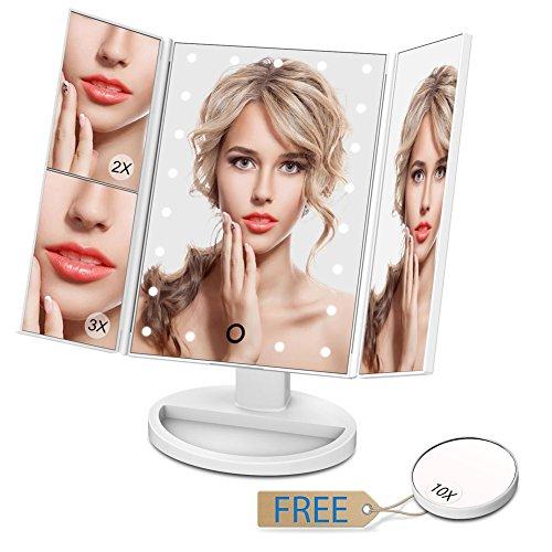 679df25dc Espejo de maquillaje giwox espejo de mesa con LED Smart Touch y espejos  Triple plegable de 2 - x/3 - x/10 - x pequeño con espejos de bolsillo
