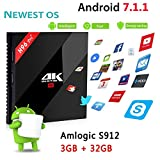 immagine prodotto 4K TV Box H96 PRO+ Android 7.1 TV Box 3GB/32GB, 2017 Modello Newest H96 PRO Plus Amlogic S912 64bit Octa Core Marshmallow OS Smart Set Top TV Box 17.1 Preinstalled Full Loaded Double WiFi 1000M Ethern