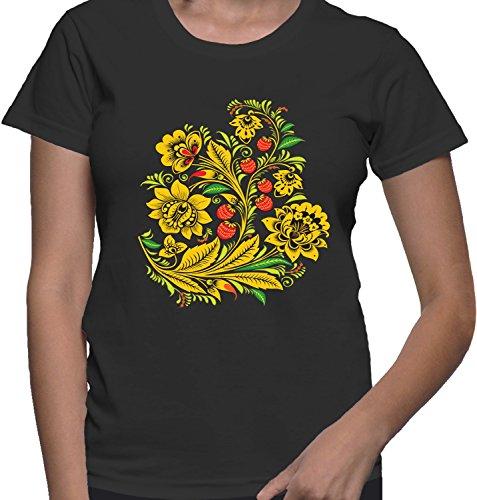 T-shirt da donna con fiori e fragole stampa. Girocollo. XX-Large, Nero
