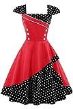 MisShow Damen 50er Hepburn Vintage Rockabilly Kleid Partykleider Petticoat Swing Ärmellos Knielang Rot Gr.S