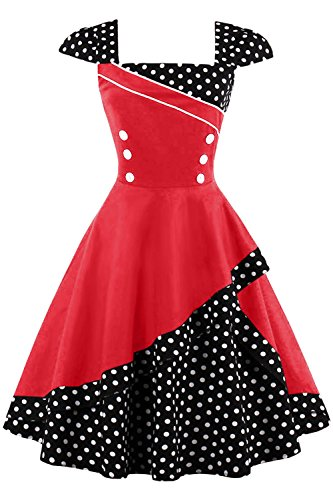 MisShow Damen 1960s Vintage Partykleid Polka Dots Knielang Rot XXL