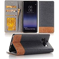 Galaxy Note 8 Case, elecfan Folio Stand Case with Card Slot Design Hard Back Cover Wallet Type Flip Case Cover Multi Envelope Case Cover for Samaung Galaxy Note 8-(Light Blue)