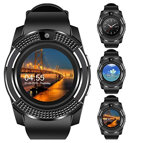 Jstbuy V8 Round Bluetooth Smart Watch Compatible with All 3G, 4G Phone with Camera and Sim Card Support (Black)