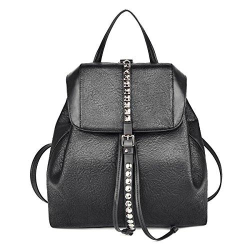 Damen Rucksack,Coofit Leder Rucksack Handtaschen Damen Tagesrucksäcke Mädchengymnasium Vintage Reisetasche (Schwarz) (rivet Schwarz)