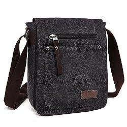 E-bestar Herren Canvas Tasche Vintage Canvas Handtasche Schultertasche Ideal Für Büro Canvas Retro Tasche Für Ipad Umhängetasche Vintage (Schwarz)