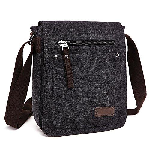 E-Bestar Herren Canvas Tasche Vintage Canvas Handtasche Schultertasche Ideal für Büro Canvas Retro Tasche für ipad Umhängetasche Vintage (Schwarz) (Retro-tasche)