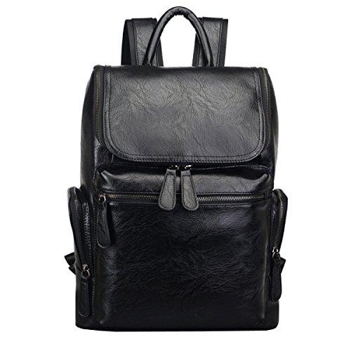 LAIDAYE Retro Herren Leder Umhängetasche Business Rucksack Mit Großer Kapazität Student Bag Leisure Travel Rucksack,Black-OneSize