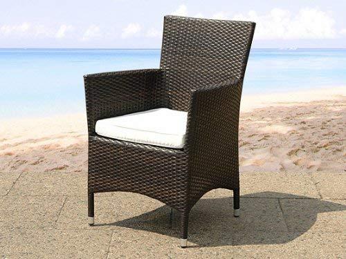 Chaise de jardin en rotin - coussins blanc cassé - ITALY