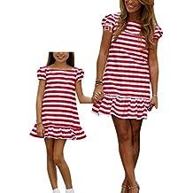 keephen Vestido de rayas madre bebé vestido a juego vestido de verano a rayas mujer niña
