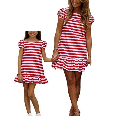 hellomiko Baby Kleider Mommy Baby Kleider Streifen Kleider Baby Mädchen Kleider Frauen Mini Kleider