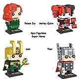 Channeltoys - Anteil 4pcs figuren Super heroes - 7/9cm - Pvc - Harley quinn Poison ivy Loki Thor - Hinke Ursprunges + Anweisungsvermerk