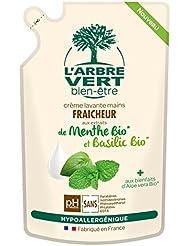 L'arbre vert Bien-être Recharge Crème Lavant Mains Menthe Basilic Bio aux Bienfaits d'Aloé Vera Bio/Extraits de...