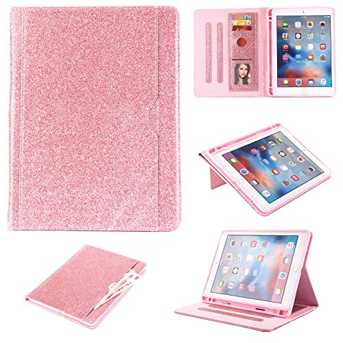 iPad 5./6. Generation (iPad 9.7 2018/2017), iPad Air 1/Air 2/iPad Pro 9.7 2016 Hülle, Uliking PU Leder TPU Multi-Winkel Folio Stand Auto Wake Sleep Cover mit Apple Pencil rosa 02# Rosegold