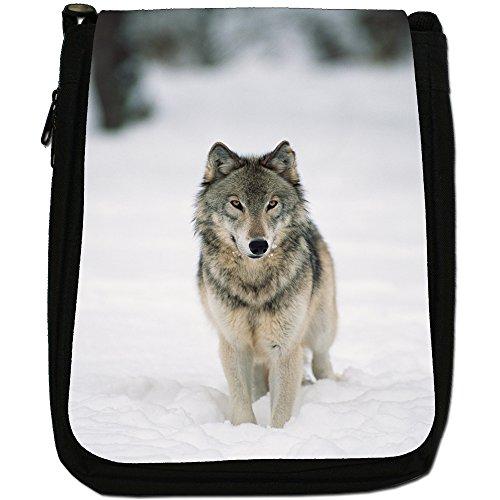 Lupo Lupi Medium Nero Borsa In Tela, taglia M Wolf In Snow