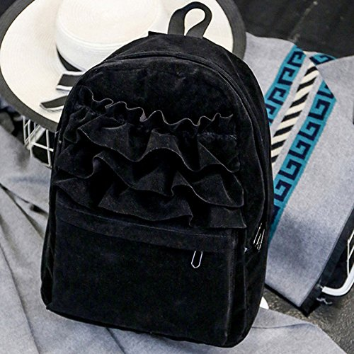 Mefly Moda Pizzo Flouncing zaino solido studenti Velvet zaini borsa libro scuola borse da viaggio per Teenager ragazze kaki Black