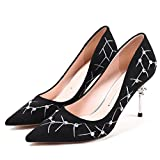 AJUNR Sandali Da Donna Alla Moda Scarpe Siviera scarpe molla Wild singolo scarpe trapano tallone sottile a Punta Pizzo 8cm tacco alto scarpe 35 nero
