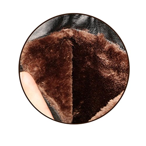 QPYC Caricamenti del sistema di cuoio genuini degli stivali del cotone delle signore Caricamenti del sistema dei caricamenti del sistema femminili del tallone del tallone di grande formato 991 black cotton boots
