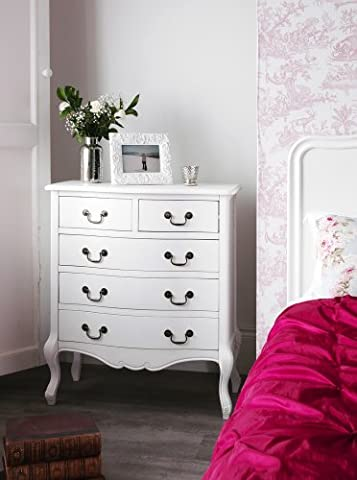 Juliette Shabby Chic Antique White chest of drawers. Stunning French chest of drawers with 5 drawers. FULLY ASSEMBLED